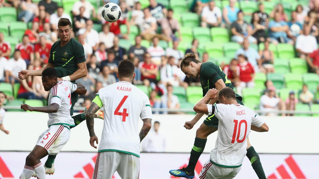 Jackson Irvine of Australia heads the ball during the International Friendly match between Hungary and Australia