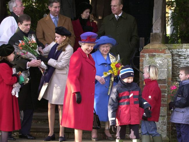 Prince Andrew (left) with the royal family after a Christmas Day church service at St Mary Magdalene Church in Sandringham in 2000. Picture: AP