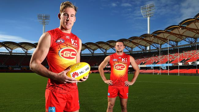 Former Suns co-captains Tom Lynch and Steven May won't have to wait long to face each other in their new digs — provided they are fit, of course. Picture: Glenn Hampson