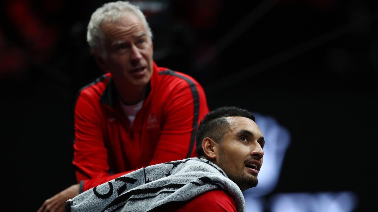 John McEnroe and Nick Kyrgios during the Laver Cup last September.