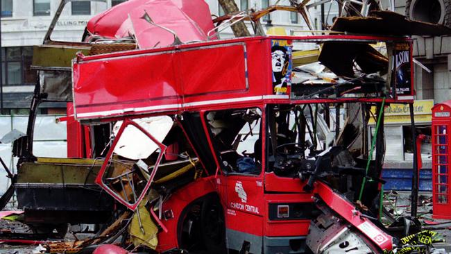 Wreckage of double decker bus in London following an IRA bomb blast which killed one and injured nine in 1996.