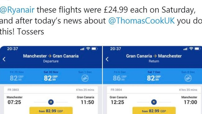 Ryanair were also accused of increasing fares.