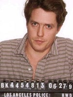 Los Angeles Police Department Hugh Grant Mug Shot. Hugh Grant was arrested in June 1995 by Hollywood police who caught him in the act with hooker Divine Brown. The actor pleaded guilty to a misdemeanor lewd conduct charge and was sentenced to two years probation, and ordered to pay a fine. Picture: Los Angeles Police dept.