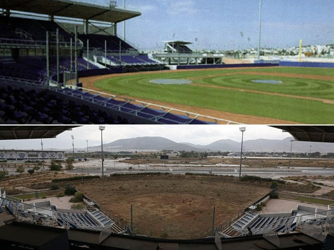 Before and after: The Athens Olympic softball stadium in 2004 and 2014.