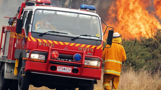 St Marys TFS volunteers during back burning operations at Fingal. Picture: CHRIS KIDD