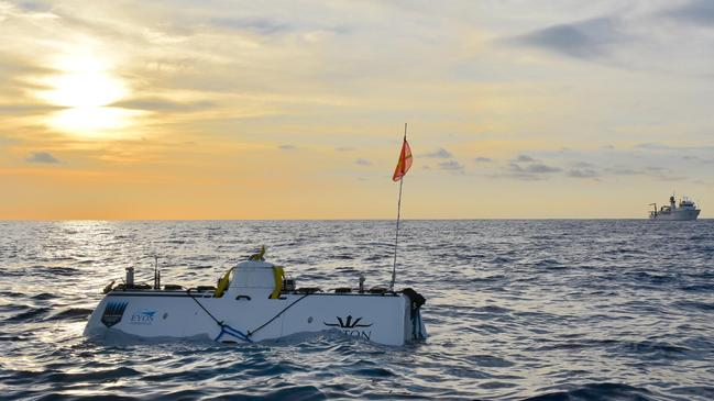 The DSV Limiting Factor surfaces following record-breaking dive in the Indian Ocean. Picture: The Five Deeps Expedition.