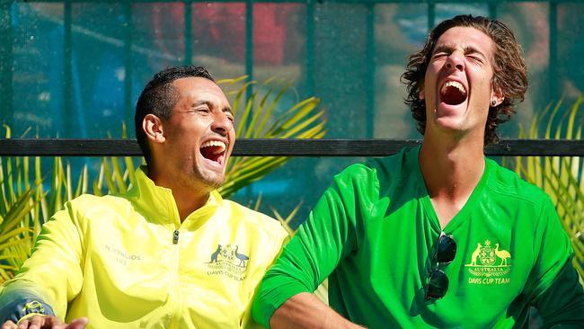 Kyrgios and Kokkinakis share a laugh during Davis Cup.