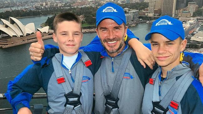 David Beckham and sons Cruz and Romeo climb the Sydney Harbour Bridge. Picture: David Beckham/Instagram