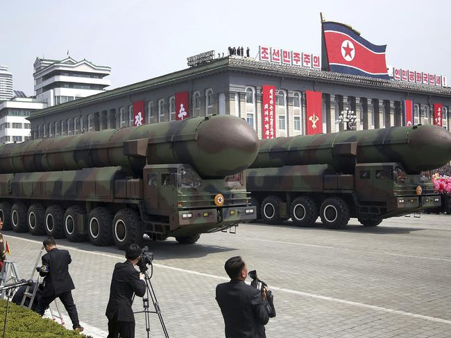Missiles are paraded across Kim Il Sung Square during a military parade in Pyongyang. Picture: AP