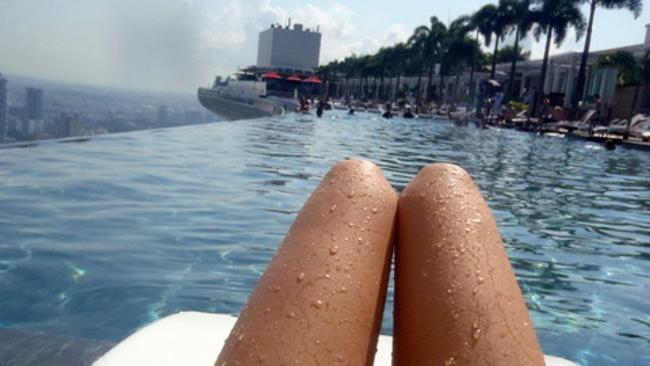 Chilling out at the Marina Bay Sands, Singapore. Picture: hot-dog-legs.tumblr.com