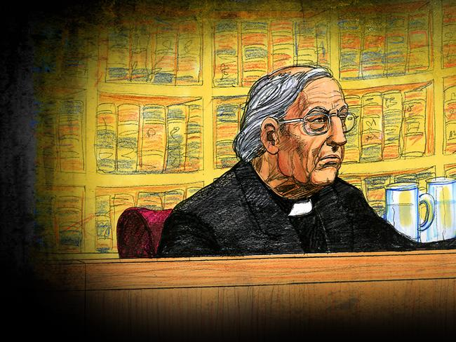 A court sketch of Cardinal George Pell at the Supreme Court of Victoria in Melbourne. Picture: AAP Image/Jeff Hayes