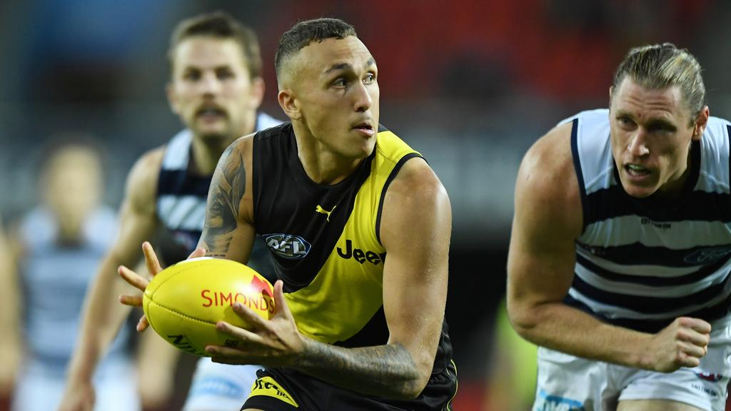 Shai Bolton will miss with a corked calf. Picture: Matt Roberts/AFL Photos/via Getty Images