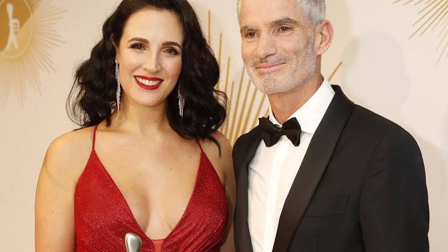 Lucy Zelic and Craig Foster won a Logie in June for the Most Outstanding Sports Coverage. Picture: Josh Woning/AAP