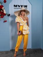 Myer Ambassador Elyse Knowles wearing Acler and Millinery by Melissa Jackson. Photo: AAP Image/Stefan Postles