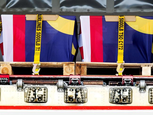 Coffins with the remains of MH17 Malaysian Airlines victims.