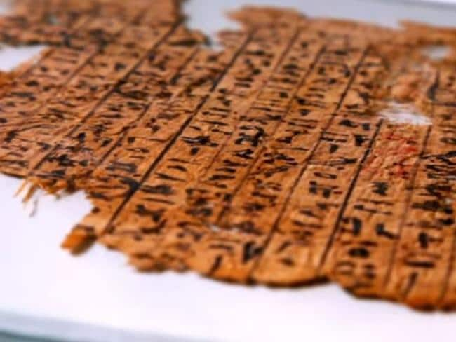 An ancient papyrus scroll that dates back to 2600BC has been recently discovered. Picture: Channel 4