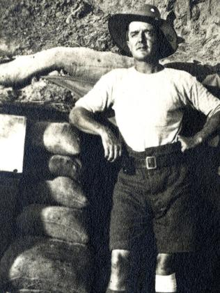 Richard Dewson pictured outside a dugout at Gallipoli in 1915, with a bandage on his injured knee.