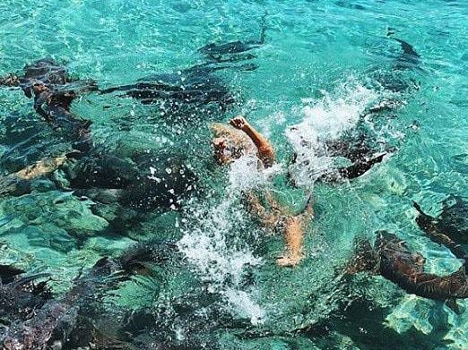 She was briefly dragged under the water. Picture: Katarina Zarutskie/Instagram