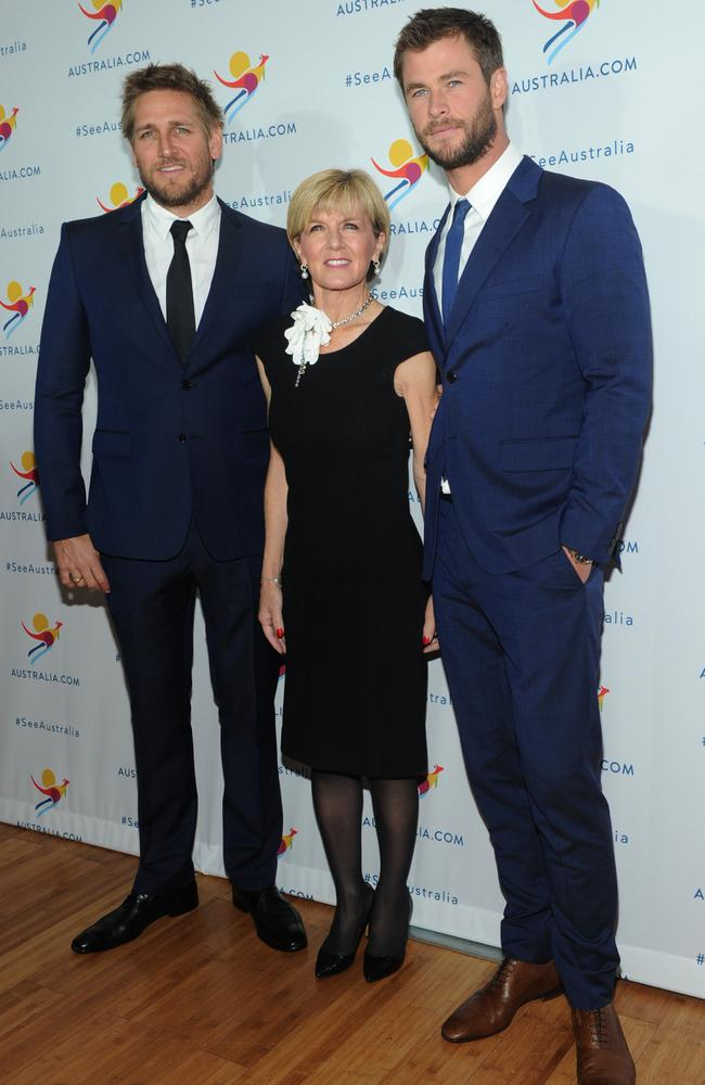 Celebrity sister ... Curtis Stone, Julie Bishop, and Chris Hemsworth at an earlier event at which Hemsworth was named the new global ambassador for Tourism Australia. Picture: AAP