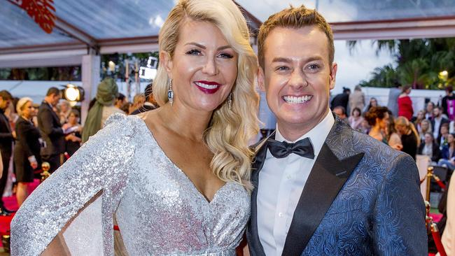 Grant Denyer and his wife Cheryl on the red carpet at the 60th TV Week Logies. Picture: Jerad Williams