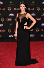Monique Fontana (the partner of Carlton player Patrick Cripps) arrives at the 2016 Brownlow Medal Count.