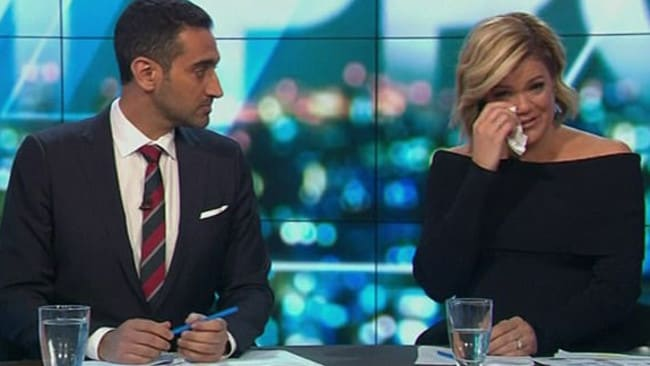 Sarah Harris tears up on The Project announcing news of Connie Johnson's death. Picture: Ten.