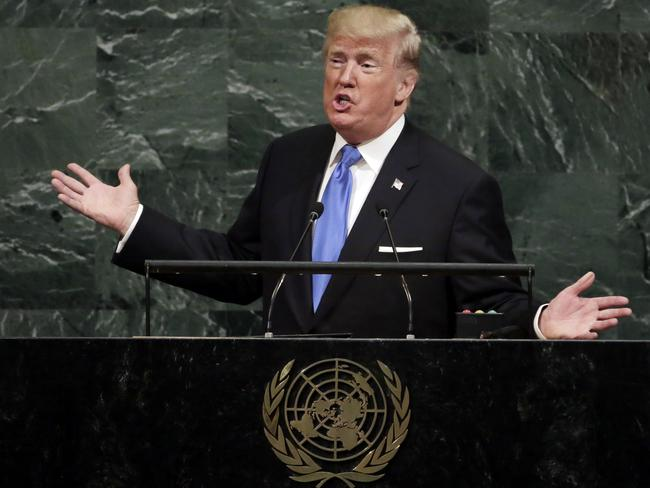 Donald Trump addresses the 72nd session of the United Nations General Assembly. Picture: Richard Drew/AP