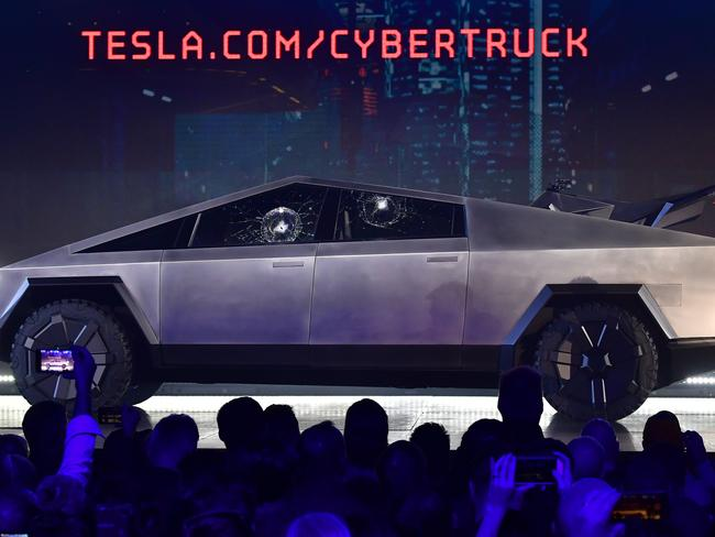 Tesla co-founder and CEO Elon Musk gestures while wrapping up his presentation of the newly unveiled all-electric battery-powered Tesla Cybertruck at Tesla Design Centre. Picture: AFP