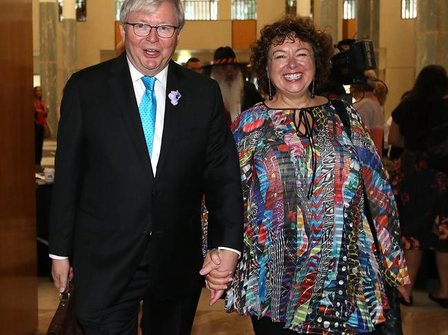 The former PM's account of event clashes with previous ones given by Gillard and Wayne Swan. Pictured, Rudd and wife Therese. Picture Kym Smith