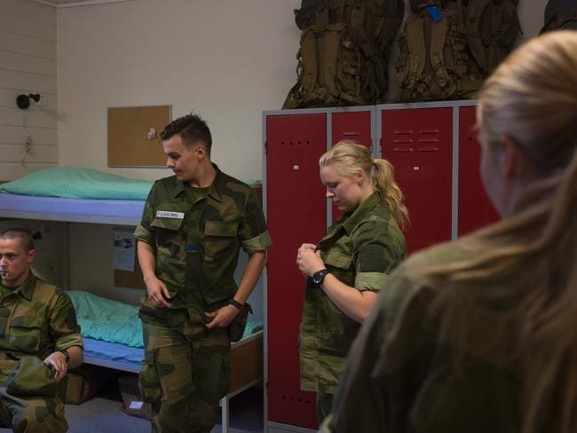 Female and male army recruits share dorms.
