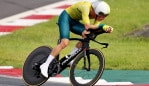 OYAMA, JAPAN - JULY 28: Rohan Dennis of Team Australia rides during the Men's Individual time trial on day five of the Tokyo 2020 Olympic Games at Fuji International Speedway on July 28, 2021 in Oyama, Shizuoka, Japan. (Photo by Michael Steele/Getty Images)