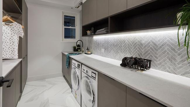 Their laundry also ticked all the boxes, with the judges loving their herringbone wall. Source: The Block