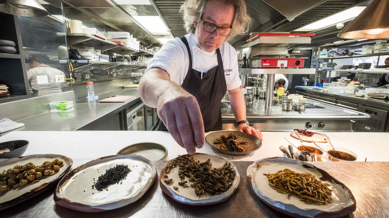 Mona Executive Chef Vince Trim preparing food with Tyrant Ants, Crickets and Meal Worms. Picture: Chris Crerar