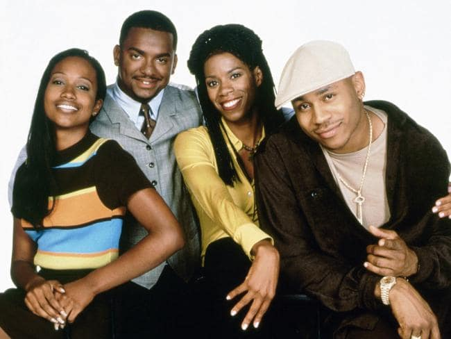 Maia Campbell (far left) with her In The House co-stars Alfonsio Ribeiro, Kim Wayans and LL Cool J.