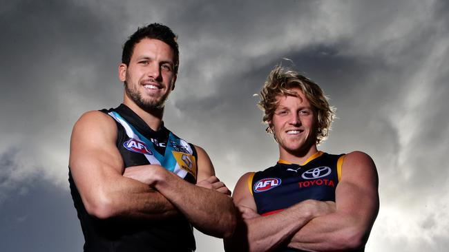 Stand-in Power captain Travis Boak and Crows co-captain Rory Sloane will resume hostilities in the middle. Photo Sarah Reed
