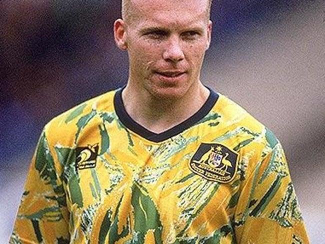 "Robbie Slater modelling Australian soccer's infamous ""spew"" kit in the early 1990s."