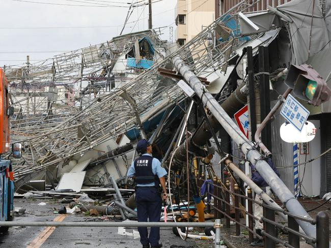 Typhoon Jebi has wreaked havoc in Osaka, bringing violent winds and heavy rainfall that prompted evacuation warnings. Picture: AFP
