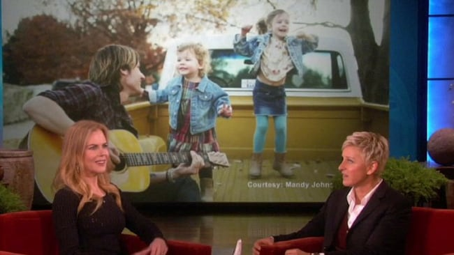 Nicole Kidman on the Ellen Degeneres show, with one of her favourite pictures of Keith and their two daughters. Photo: Ellen