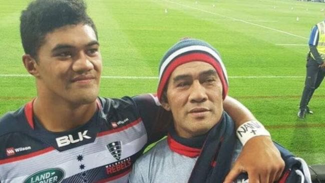 Jordan Uelese pictured with his father Sekati after making his Super Rugby debut for the Rebels.