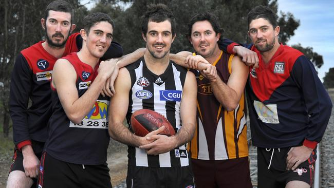 Steele Sidebottom with his brothers (from left) Josh, Ryan, Trent and Tyson.