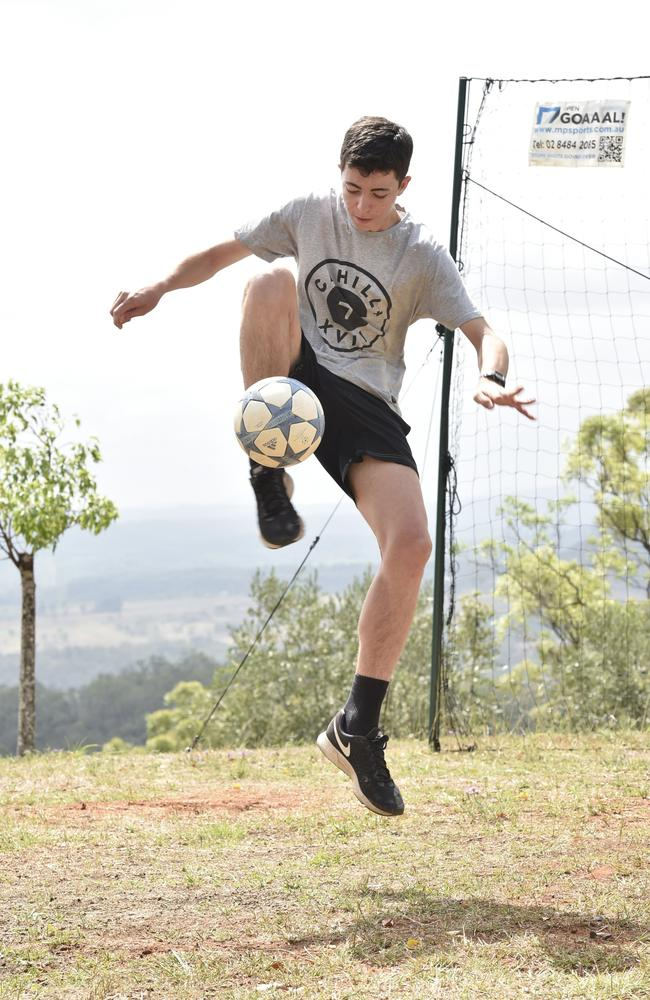 Jed Hockin has become a YouTube sensation of videos of his amazing tricks shots with a soccer ball. Picture: Bev Lacey
