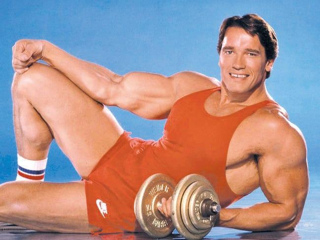 Arnold Schwarzenegger as a young bodybuilder.