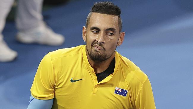 Nick Kyrgios has levelled Australia's Davis Cup tie with Germany. (AP Photo/Tertius Pickard)
