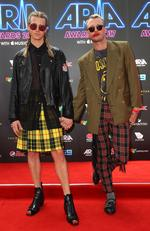 Christian Wilkins and Andrew Kelly arrive on the red carpet for the 31st Annual ARIA Awards 2017 at The Star on November 28, 2017 in Sydney, Australia. Picture: Getty