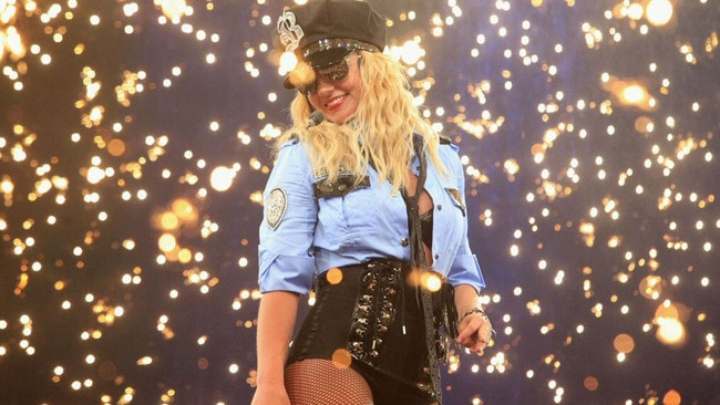 Singer Britney Spears performing on her Circus Tour.
