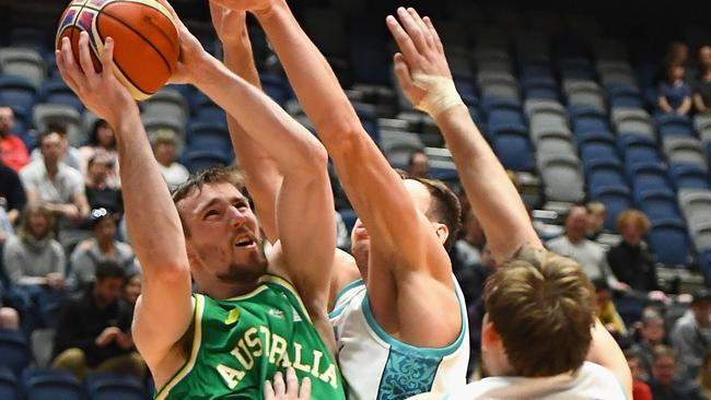 Mitch McCarron of the Boomers shoots during the World Cup Qualifier match against Kazakhstan. Picture: Getty Images