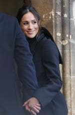 Britain's Prince Harry and his fiancee Meghan Markle arrive for a visit to Cardiff Castle in Cardiff, Wales, Thursday, Jan.18, 2018. Picture: AP