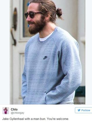 Jake Gyllenhaal rocking a man bun on an Instagram post.