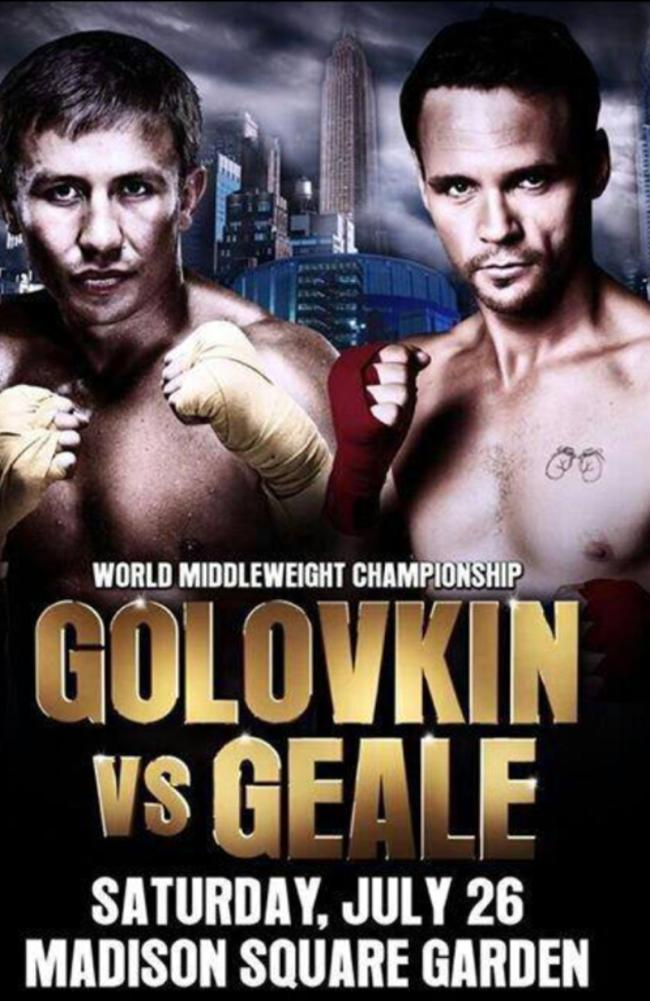 Boxing poster promoting the upcoming world title fight between Daniel Geale and Gennady Golovkin.