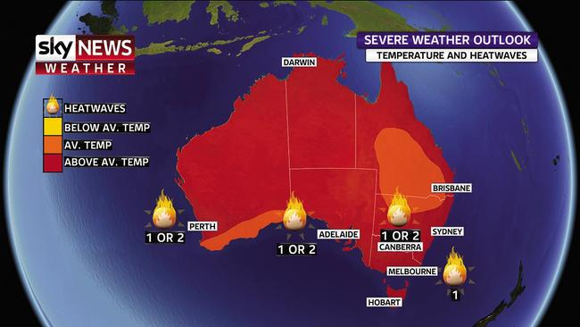 Sky News' severe weather outlook forecasts higher than average temperatures and heatwaves in several cities. Picture: Sky News.
